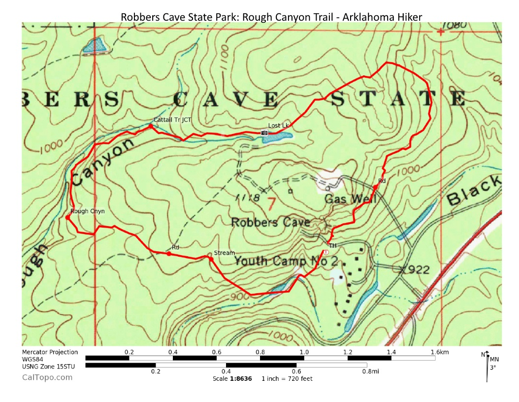 robbers cave rough canyon trail 3 mi arklahoma hiker