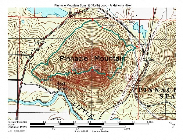 Pinnacle Mountain (North) Summit Trail Loop - Contour Map (click to enlarge)