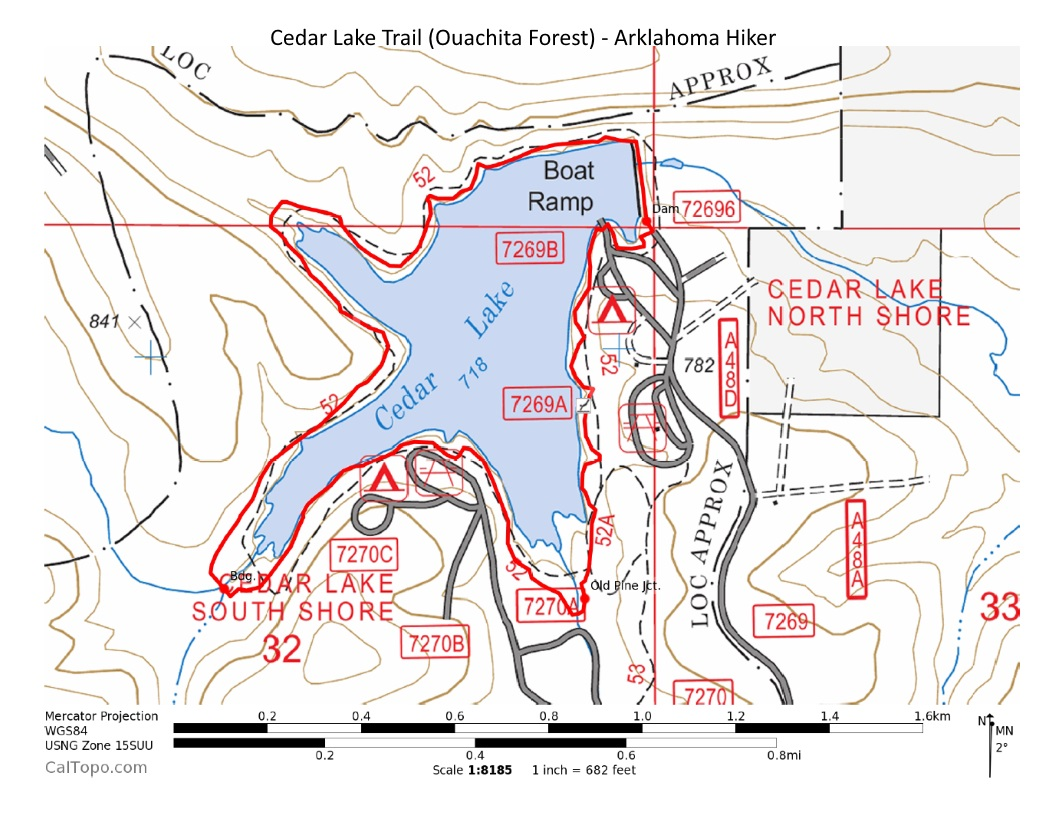 Cedar Lake Trail Ouachita Forest Mi Arklahoma Hiker - Oklahoma map of lakes