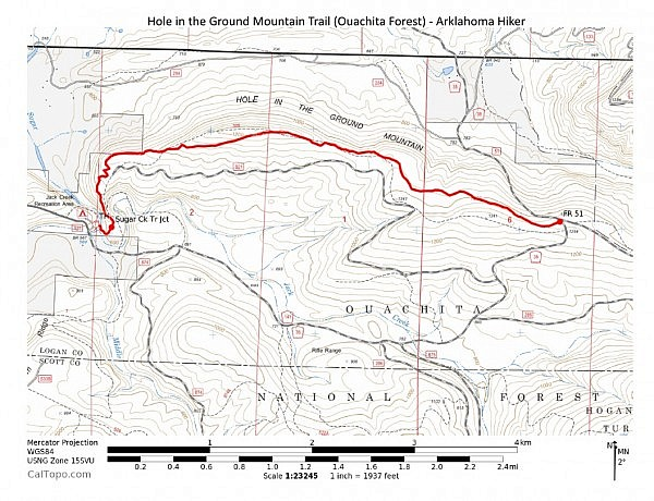 Hole in the Ground Mountain Trail (Ouachita Forest) - Contour Map (Click to enlarge)