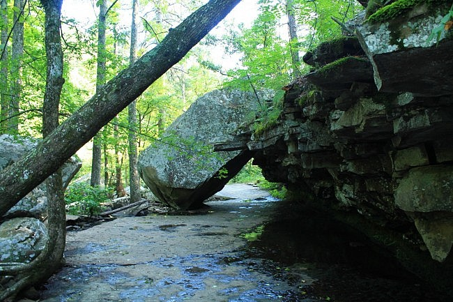 Cool leaning slab rock. The trail goes under this rock.