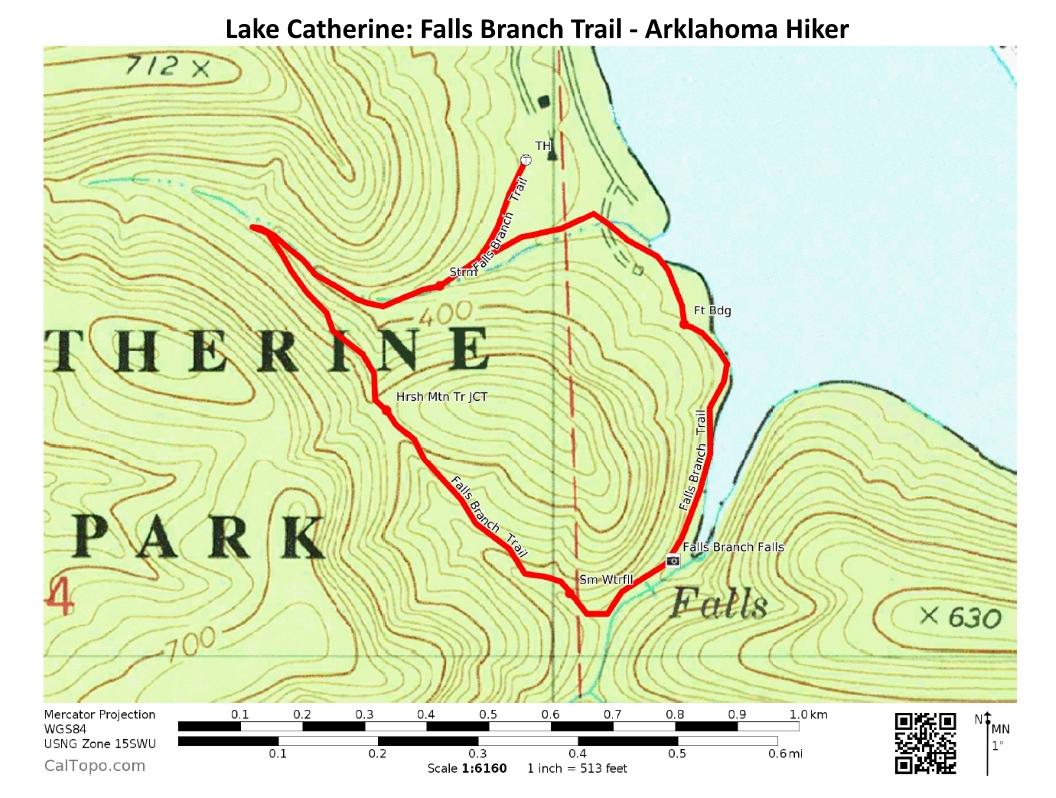 Falls Creek Oklahoma Map.Lake Catherine Falls Branch Trail Falls Creek Falls 2 Mi