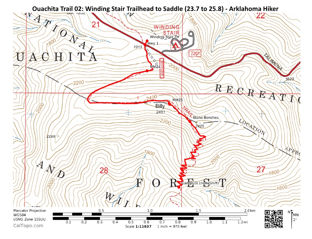 Leflore County Oklahoma Map.Ouachita Trail 02 Winding Stair Th To Highpoint To Saddle 23 7 To