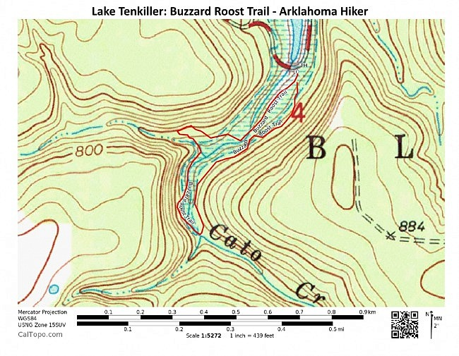 Lake Tenkiller: Buzzard Roost Trail Contour Map (Click to Enlarge)